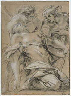 Simon Vouet, Fainting Magdalen Supported by Two Angels, ca. Black chalk heightened with white on beige paper, 31 x cm. Collage Drawing, Paper Drawing, Art Drawings, History Of Drawing, Life Drawing, Figure Painting, Figure Drawing, Jesus Painting, Religious Images