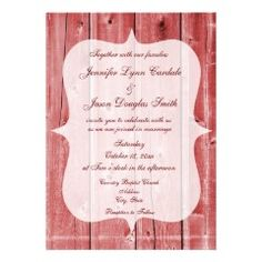 Rustic Country Red Barn Wood Wedding Invitations #wedding #country