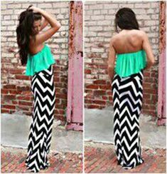 Green Striped Patchwork Pleated Bandeau Floor Length Loose Chiffon Maxi Dress