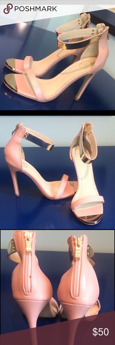 New! Missguided Heels with Gold Detailing Feminine & sexy peach ankle strap heels with gold metal detailing on the straps, toe, and zipper. Back zip closure. Great with a LBD for date night! These have never been worn, only tried on. Missguided Shoes Heels