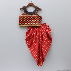 Multicolour Top With Red Printed Dhoti Frocks For Girls, Kids Frocks, Dresses Kids Girl, Baby Dresses, Kids Indian Wear, Kids Ethnic Wear, Trendy Outfits, Kids Outfits, Stylish Dresses