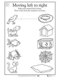 Trek een lijn zodat elk diertje zijn rustplaats vindt.