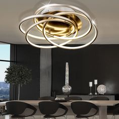 40 Watt LED Decken Leuchte Alu Beleuchtung Dimmbar Wohn Ess Zimmer Ringe  Lampe In Möbel U0026
