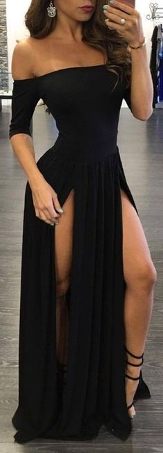 Sexy Black Prom Dress, Long Charming Prom Dress, Strapless Slit Prom Gown 0249 by RosyProm, $135.99 USD