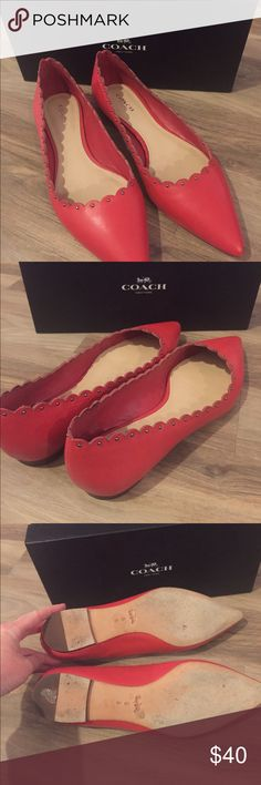Coach flats in True Red Scalloped edge creates a unique look to the flat. These shoes run a little tight and narrow for a size 9 Coach Shoes Flats & Loafers