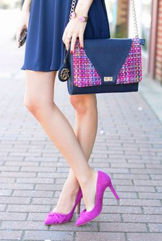 navy wrap dress (less than $50!) // pink tweed clutch (OBSESSED), handbag version here crystal...