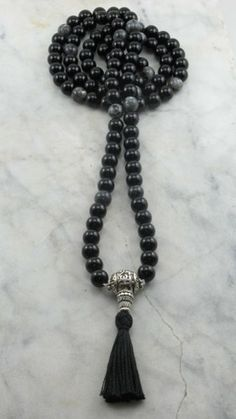 OM Mala Black Agate and Fossil Agate Mala Beads Buddhist Prayer Beads, 108 Mala Beads, Grounding, Balance, Oneness, Free