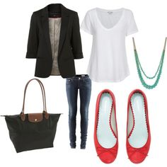 JCP black blazer, need a white tee, long skinnies, red flats, teal pendant........ 86 the ugly bag.