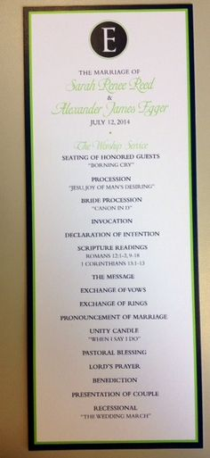 Blue and green wedding program!_A to Z Paperie!