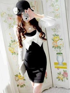 Slim and Graceful Bow-Tie Embellished Colormatching Dress (BLACK,FREE SIZE) China Wholesale - Sammydress.com