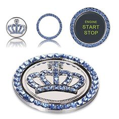 Mini-Factory Crystal Rhinestone Car Bling Decal Sticker Ring Diamond Crown Emblem for Engine Ignition Key Button - Blue - Brought to you by Avarsha.com