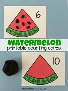 Printable Watermelon Counting cards to use with playdough!