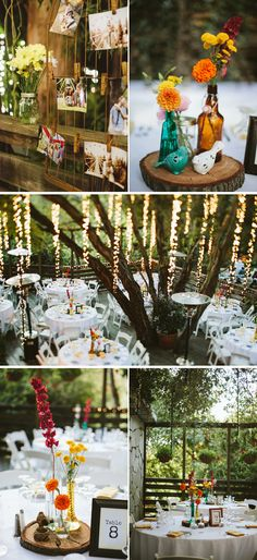 Gorgeous hanging lights from trees at an outdoor wedding reception. And I like the centerpieces.