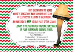 A Christmas Story Leg Lamp Printable Holiday Invitation by BluegrassWhimsy Christmas Story Party Ideas, Christmas Story Leg Lamp, Christmas Story Movie, Christmas Themes, Christmas Classics, Christmas Artwork, Christmas Favors, Christmas Paintings, Christmas Traditions