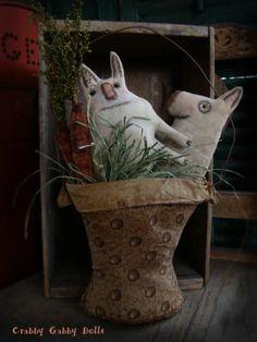 Crabby Gabby Primitive Folk Art Easterbasket w Rabbits Carrots Doll | eBay