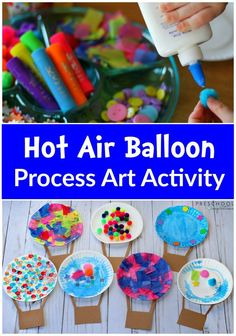 Hot Air Balloon Art Activity In this open-ended activity, children can use a variety of art and craft supplies to create their own Hot Air Balloon Process Art. Daycare Crafts, Toddler Crafts, Preschool Crafts, Crafts For Kids, Art Activities For Kindergarten, Art Activities For Preschoolers, Preschool Art Activities, Dr Seuss Preschool Art, Process Art Preschool