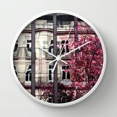 a room with a view Wall Clock #awesome #contemporary #wall #clock #ingz #Society6 #architecture #abstract #reflection #tree