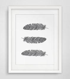 Bohemian Wall Art Bohemian Print Feather door MelindaWoodDesigns