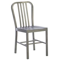 Modway Clink Brushed Metal Dining Side Chair in Silver Restaurant Patio Deck Kitchen Cafe Dining Chair Indoor Or Outdoor Use * Check out the image by visiting the link-affiliate link. Contemporary Dining Chairs, Modern Chairs, Contemporary Furniture, Modern Contemporary, Restaurant Patio, Dining Room Design, Design Kitchen, Outdoor Dining, Indoor Outdoor