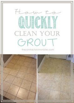 1. Wet grout lines. 2. Fill grout lines with baking soda 3. Spray grout line with mixture of 1part water & 4 parts vinegar & 2 TBsp Dawn 4. Let it sit for 30 seconds 5. Scrub grout lines with old toothbrush and wipe clean