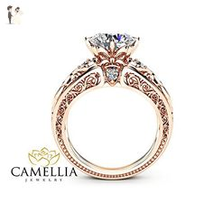 14K Rose Gold Engagement Ring Unique Design 2 Carat Moissanite Ring Art Deco Styled - Wedding and engagement rings (*Amazon Partner-Link)