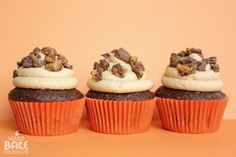 {reeses cupcakes} one of the best #cupcakes i've ever made or eaten...EVER.  i'm not a huge fan of icing, but with these it was a different story. so fluffy and light. you must try this {and share with friends!} #baking