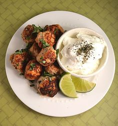 Persian Chicken Meatballs ~ Served with Lime, Yogurt
