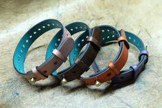 Dominique Saint Paul. Hand coloured crust leather bracelets.