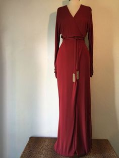 Slinky GUCCI Red Gown with Fringe Hardware Detail Self-Tie Belt Size 38 #Gucci #BallGown #Formal