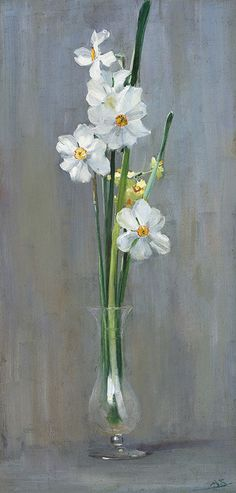 Arthur Streeton (Australian, 1867-1943), Narcissi. Oil on canvas, 49.5 x 24 cm.