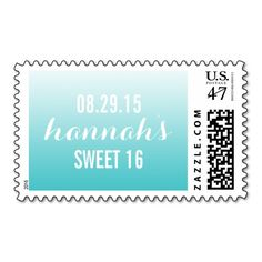 Tiffany Blue Ombre Gradient Sweet 16 Postage