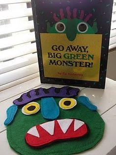 Template to make big green monsters out of felt. Little Gene Green Bean: Go away, Flannel Board Stories, Felt Board Stories, Felt Stories, Flannel Boards, Literacy Activities, Preschool Activities, Preschool Projects, Daycare Crafts, Halloween Activities