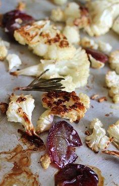 Rosemary Roasted Cauliflower and Grapes {gluten-free, vegan}