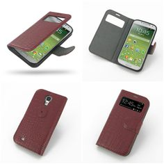 PDair Ultra Thin Leather Case for Samsung Galaxy S4 SIV LTE GT-i9500 GT-i9505 - Book Type (Red/Crocodile Pattern)