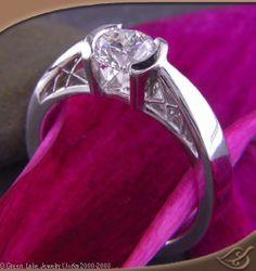 Platinum Half Bezel with Reverse Taper and Criss-Cross Filigree.  #jewelryworks #engagement