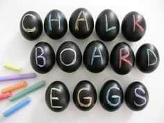 Need to keep the kids entertained at the Easter table? Use DecoArt Chalkboard Paint on eggs and let them doodle away!