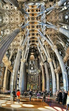 Interior of Sagrada Familia, Barcelona Spain