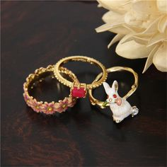 Find More Rings Information about France Luxury Elegant Rabbit Flower Gem Rings Sets Party Wedding Cloisonne enamel Rings For Women,High Quality ring ring wav,China ring from Suppliers, Cheap ring wav from warmhome jewelry on Aliexpress.com
