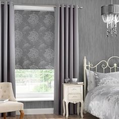 Dunelm Laura Floral Silver Cotton Blackout Roller Blind x Kids Curtains, Cool Curtains, Grey Curtains, Colorful Curtains, Blackout Curtains, Bedroom Curtains With Blinds, Grey Blinds, Types Of Curtains, Thermal Curtains