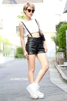 ASIAN STREET FASHION: High Waisted Bottoms with Crop Tops
