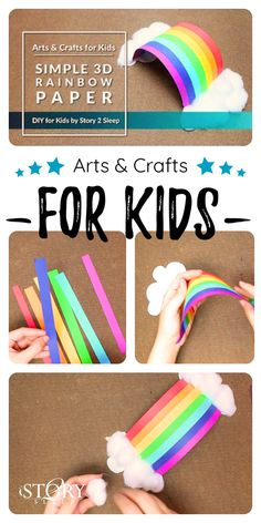 Fun Arts and Crafts for Kids: Simple 3d Paper Rainbow DIY Activity for Kids by Story 2 Sleep, easy craft activity for kids. A quick, fun activity to encourage kids creativity. #artsandcrafts #diy #kids #story2sleep