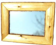 WOOD SLICE MIRROR Rustic Mirror Mirror by WoodstockBoutique