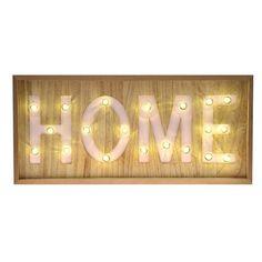 Διακοσμήστε και ταυτόχρονα φωτίστε μοναδικά τον χώρο σας, με την υπέροχη και μοντέρνα   ταμπέλα Ηome.Είναι κατασκευασμένη από ξύλο και διαθέτει 20led λαμπάκια που δίνουν μία ατμόσφαιρα  χαλάρωσης και ηρεμίας.