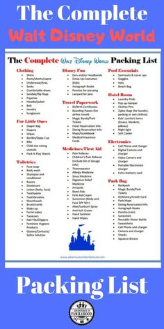 Do You Want Worldwide Vehicle Coverage? The Complete Walt Disney World Packing List Is An Essential Resource For Your Walt Disney World Vacation. This Printable List Includes All The Must-Have Items To Pack For A Family Disney Trip Packing List For Disney, Disney World Packing, Disney World Vacation Planning, Walt Disney World Vacations, Vacation Packing, Disney Planning, Trip Planning, Packing Tips, Disney Vacation Club