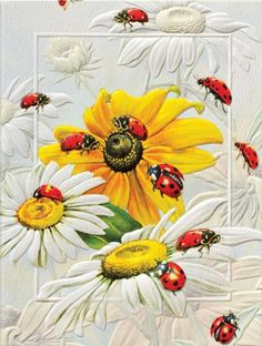 Painting of ladybugs by Greg Giordano. Wallpapers Flowers, Galaxy Phone Wallpaper, Ladybug Art, Gif Animé, Owl Art, Mural Art, Fabric Painting, Flower Art, Illustration Art