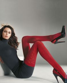 Love these red tights. So glad tights are making a comeback. Wolford Stockings, Sexy Stockings, Sexy Socks, Shorty, Tights Outfit, Sweater Tights, Fashion Tights, Great Legs, Beautiful Legs