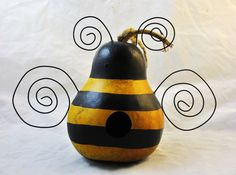Bumble Bee Gourd Bird Househandpainted by KaoriKreations on Etsy, $20.00