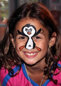 Penguin face painting design