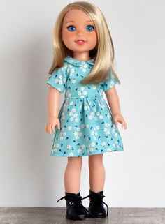 inch Doll Clothes-Blue Floral Pocket Dress fits like Wellie Wishers Doll, Doll Clothes, 14 inch Doll Dress, Wellie Wisher Doll Clothes American Dolls, American Girl, Wellie Wishers Dolls, Cute Dresses, Summer Dresses, Girl Dolls, Doll Clothes, Homemade, Sewing