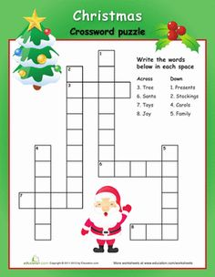 Worksheets: Easy Christmas Crossword Puzzle done Christmas Word Search, Christmas Words, Noel Christmas, Simple Christmas, Xmas, Christmas Crossword Puzzles, Christmas Worksheets, Christmas Printables, Christmas Riddles
